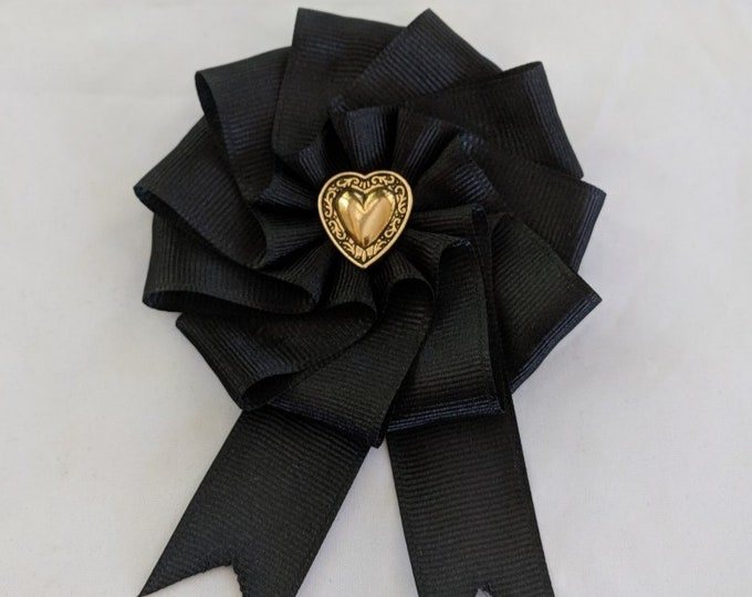 Black Mourning Cockade for Hat or Clothing - Grieving Heart