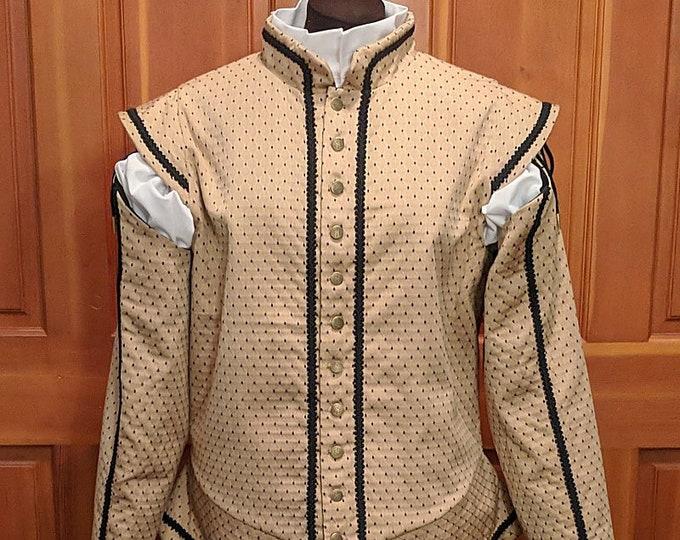 Sussex Brocade SCA Fencing Doublet & Tie-On Sleeves - Rapier Armor
