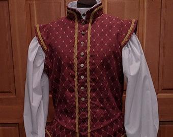 Burgundy Weston Brocade Fencing Jerkin Doublet - SCA Rapier Armor