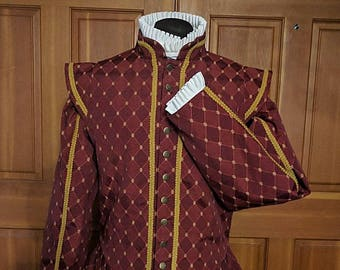 Weston Brocade Fencing Jerkin Doublet with Sleeves - SCA Rapier Armor