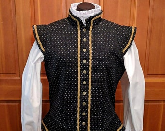 Black Sussex Brocade Fencing Doublet Gipsy Peddler SCA Rapier Armor