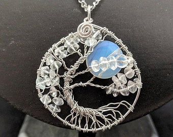 Winter's Moon - Tree of Life Pendant - Clear Crystal and Moonstone
