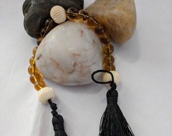 Magdalen Chaplet - Amber Glass & Bone Paternoster Renaissance Rosary