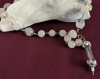 Relic Connector on a Rose Quartz Chaplet Paternoster Rosary