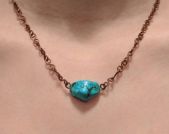 Copper Links Turquoise Nugget Necklace - Mayan - Aztec - Southwest