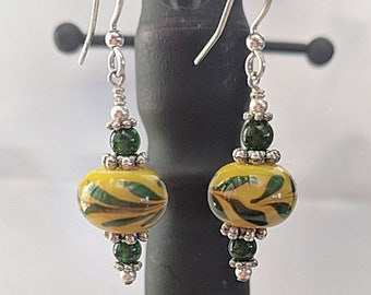 Lampwork Laurel Beads - Silver and Malachite Earrings - SCA Peerage