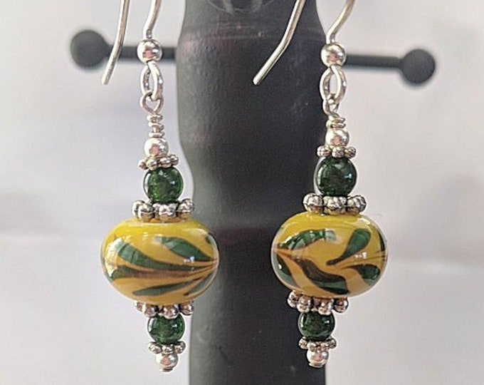 Lampwork Laurel Beads - Silver and Malachite Earrings - SCA Peerage