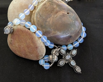 Moonstone Sterling Silver Dominican Standardized Rosary - Prayer Beads