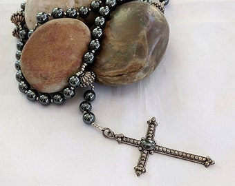 Hematite Sterling Silver Dominican Standardized Rosary - Prayer Beads