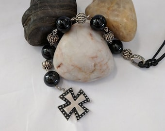Onyx and Silver Tenner with Equal Armed Cross Pattee Chaplet Paternoster