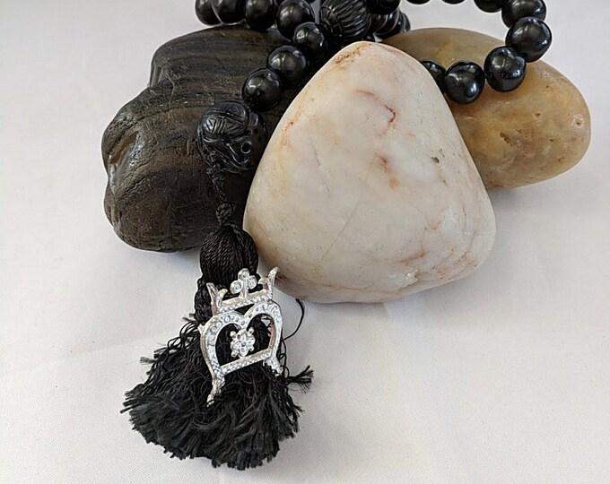 15th c. Black Jet Rosary - Pilgrim Badge on Paternoster  - Chaplet