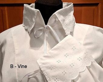 In Stock! Fencing Shirt w Vine Design Falling Collar & Cuffs - SCA Rapier Armor