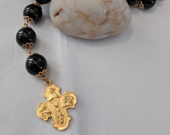 Four Way Cross on Black Onyx Chaplet - Renaissance Paternoster Rosary