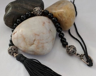 Onyx and Sterling Silver Paternoster Rosary - Magdalen Chaplet