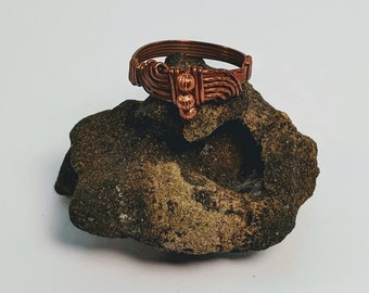 3 Bead Wire Wrapped Copper Ring