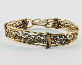 Wire Wrapped Brass Basket Weave Bracelet  Cuff