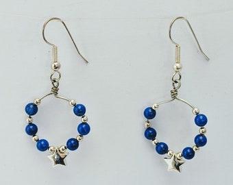 Silver Star Hoop Earrings w Blue Lapis Lazuli Beads - Patriotic Hoops