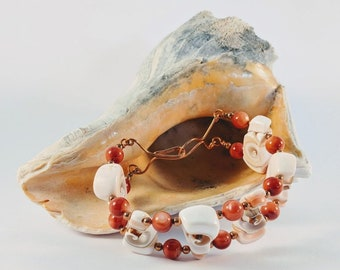Shell Sacred Spiral Bracelet w/ Natural Shell Beads - Copper Beads