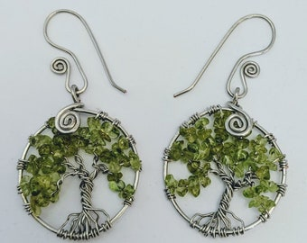 Tree of Life Earrings - Peridot August Leo - Sacred Spiral Earwires