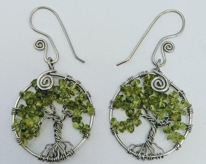 Tree of Life Earrings - Peridot August Leo - Sacred Spiral Earwires