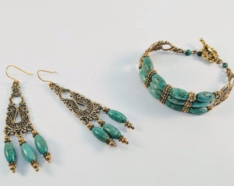 Set - Queen Cleopatra Turquoise Bracelet and Earrings - Egyptian