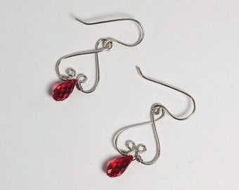 Valentine Garnet Swarovski Crystal Renaissance Earrings - Wire Heart