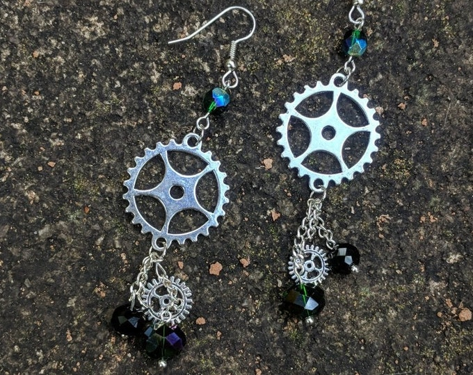 Steampunk Gear Crystal and Chain Dangle Earrings
