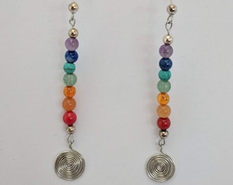 7 Chakra Sacred Spiral Earrings