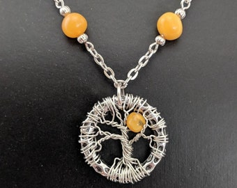 Winter Sun - Tree of Life Pendant - Butterscotch Amber