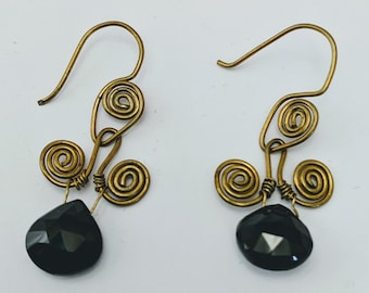 Spinel Sacred Spiral Earrings - Celtic - Egyptian - Byzantine