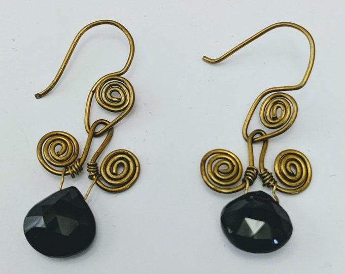 Spinel Sacred Spiral Earrings - Celtic - Egyptian - Byzantine