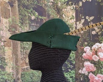 Green Felt Bycocket Robin Hood Hat & Feather Gothic Hunter Cap SCA