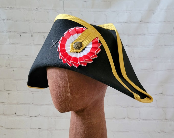 Napoleon Bicorne with Gold Edging - American Cocked Hat - Red White Blue Cockade