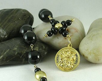 St. Michael Metal  Onyx Paternoster with Credo Cross - Chaplet Rosary