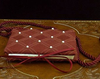 Burgundy Pearled Damask Girdle Address Prayer Book - Renaissance Dress Accessory