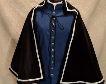 1 in Stock! White/Silver Trim on Black Velveteen Fighting Half Cape -  SCA Rapier Armor