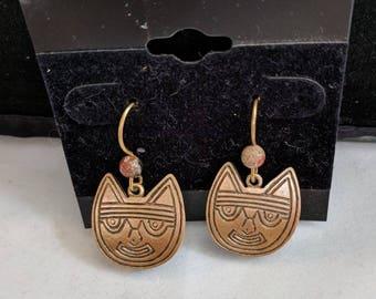 Peru Pre-Columbian Cat Earrings - 250 B.C. to 125 A.D. - Oculate Myth
