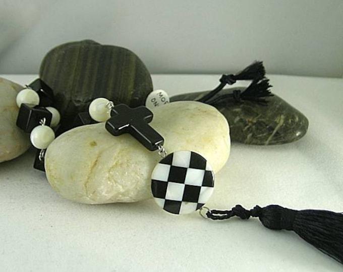 SCA Checky - Black & White MOP Onyx Rosary #3 - Tenner - Paternoster