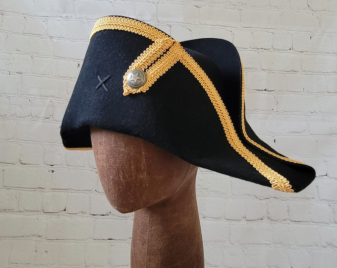Bicorne with Gold Trim - American Cocked Hat - War of 1812 - Napoleon