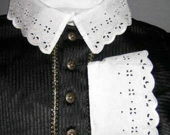 Fencing Shirt w Cutwork Falling Collar and Cuffs - SCA Rapier Armor