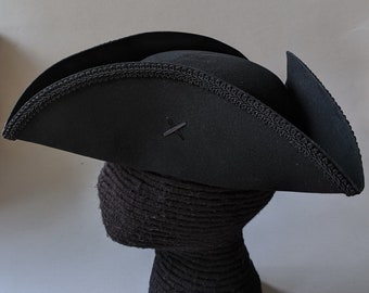 Field Officer's Tricorn - Colonial Black Trim Hat - Military Tricorne