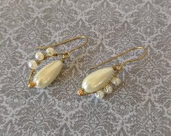 Wire wrap Teardrop Pearl Earrings - Italian Renaissance - Elizabethan
