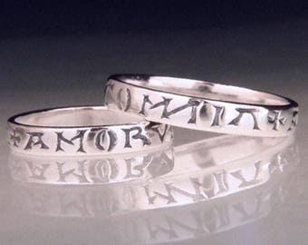 Love Conquers All Sterling Silver Poesy Ring - Latin - Chaucer Virgil
