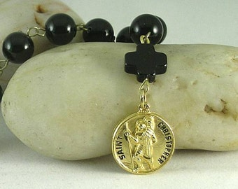 St. Christopher Metal Onyx Tenner Chaplet - Paternoster - Catholic Zhener