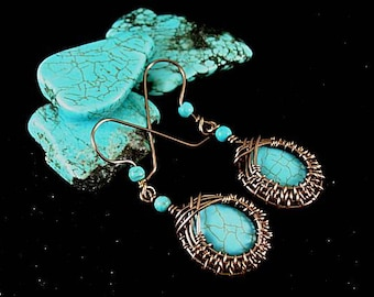 Aztec Egyptian Native American Turquoise Woven Wire Earrings