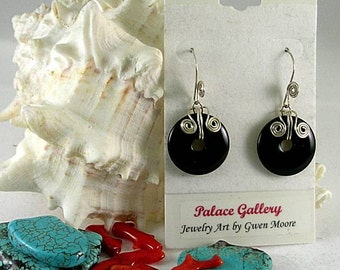 Onyx Donut Earrings with Celtic Spirals and Spiral Earwires