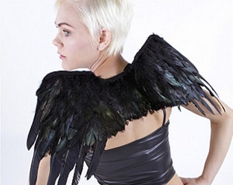 Black Raven Crow Shoulder Wings - Rooster Feathers Turkey Quills