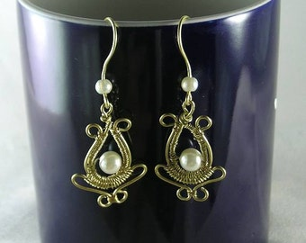 Princess Pearl Dangles - Wire-Wrapped Renaissance Earrings