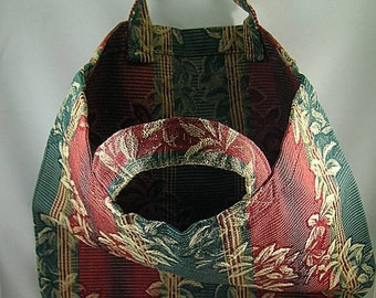 Green and Red Brocaded Shopping Bag - Renaissance