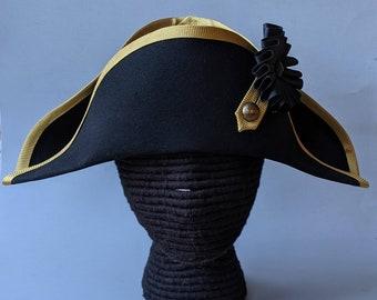 Royal Navy Bicorne with Gold Trim - British Cocked Hat - Admiral Bicorne